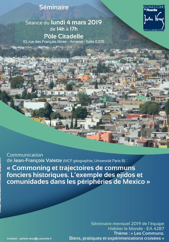 Séminaire « Commoning et trajectoires de communs fonciers historiques. L'exemple des ejidos et comunidades dans les périphéries de Mexico »