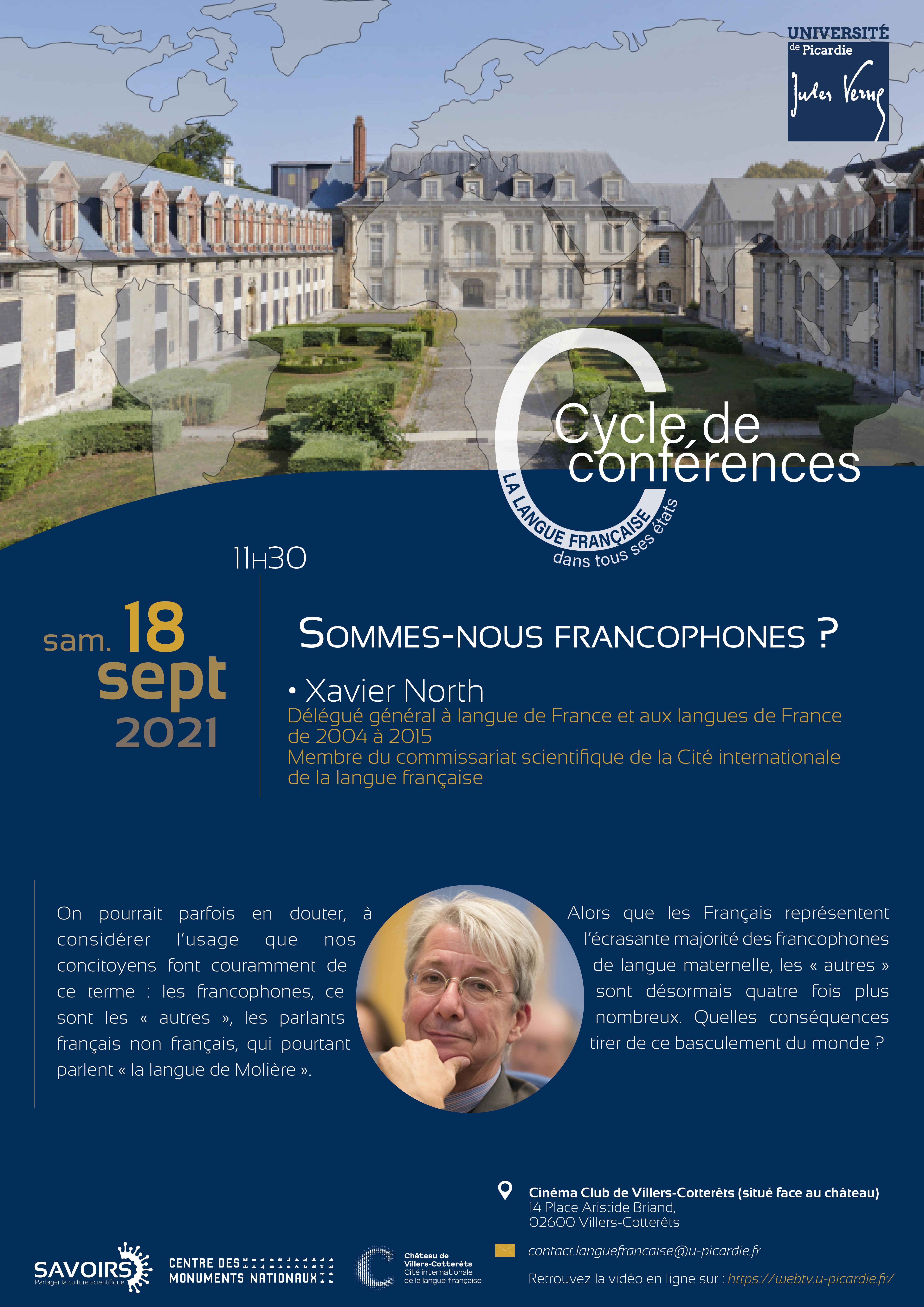 Cycle de conférences - La langue française dans tous ses états - Xavier North