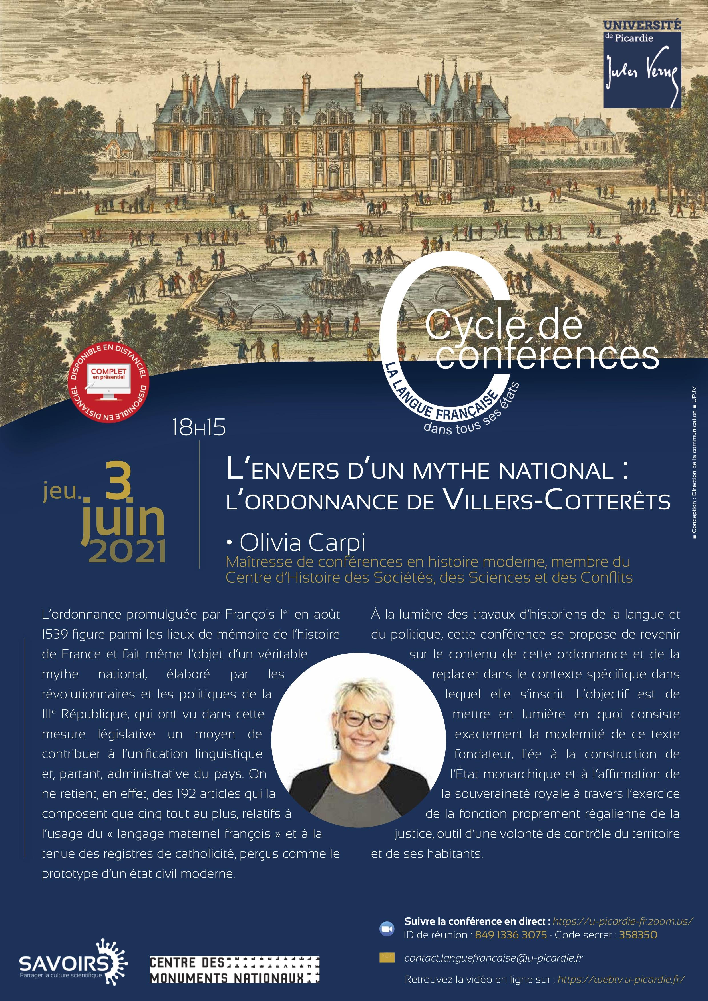 Cycle de conférences - La langue française dans tous ses états - Olivia Carpi