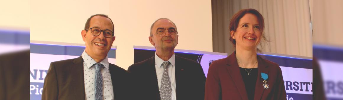 Claire Andréjak, en compagnie de Mohammed Benlahsen (Président de l'UPJV) et Bruno Housset (Président de la Fondation du Souffle)