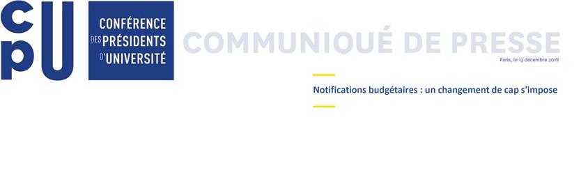 Notifications budgétaires - communiqué CPU