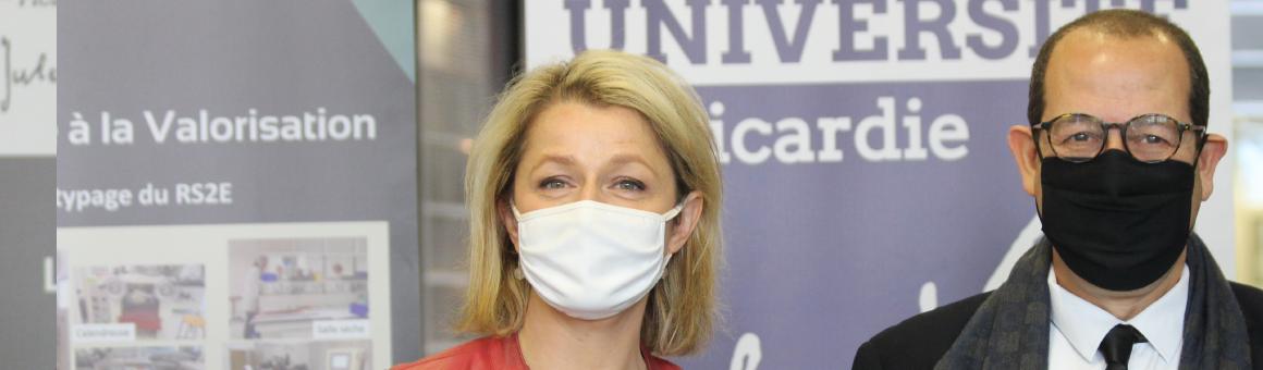 Barbara Pompili en visite à l'UPJV, le 7 mai 2021